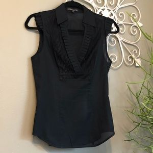 Like New-Black, Sleeveless Top with Ruffle Accents